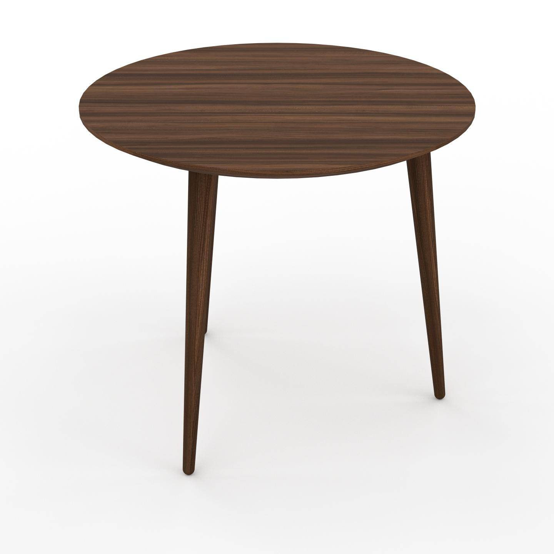MYCS Table basse - Noyer, ronde, design scandinave, petite table pour salon élégante - 50 x 44 x 50 cm, personnalisable