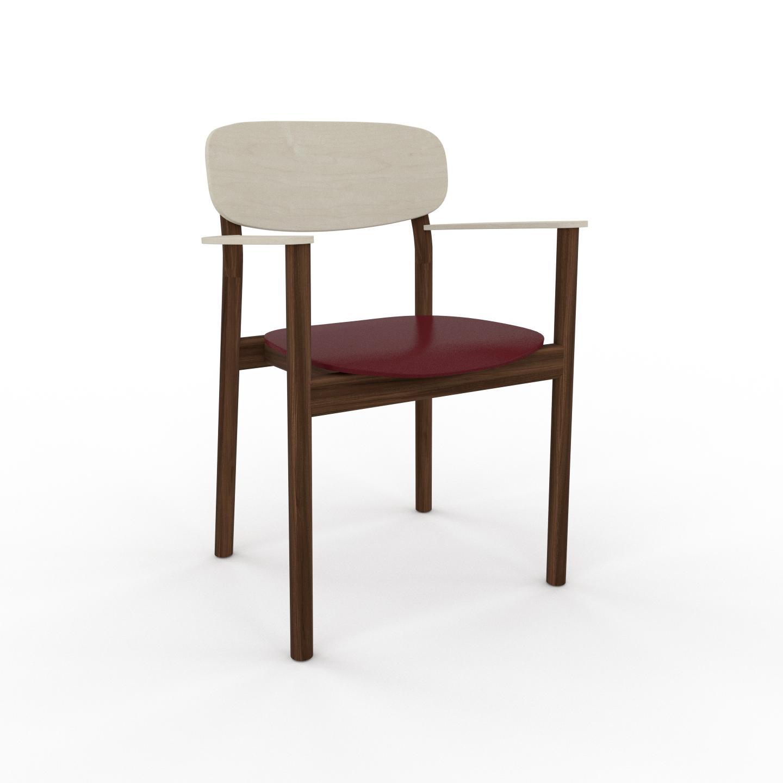MYCS Chaise avec accoudoirs Rouge bordeaux de 52 x 82 x 58 cm au design unique, configurable
