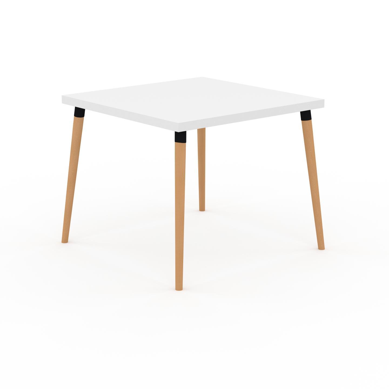 MYCS Table à manger - Blanc, design scandinave, pour salle à manger ou cuisine nordique - 90 x 75 x 90 cm, personnalisable