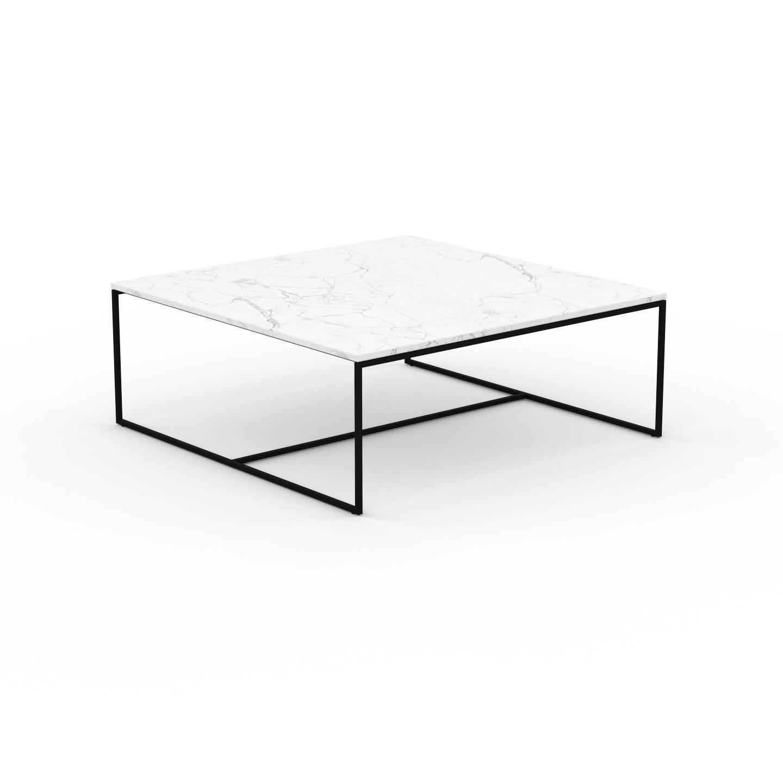 MYCS Table basse en marbre Blanc Carrara, design contemporain, bout de canapé luxueux et sophistiqué - 121 x 46 x 121 cm, personnalisable