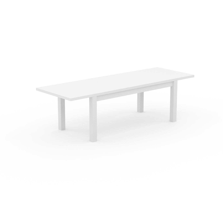 MYCS Table à manger extensible - Blanc, moderne, pour salle à manger ou cuisine, avec deux rallonges - 260 x 76 x 90 cm, personnalisable