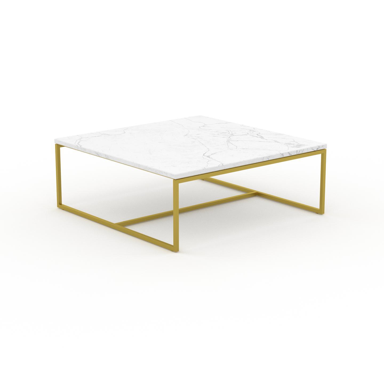MYCS Table basse en marbre Blanc Carrara avec des jambes dorées, design contemporain, bout de canapé luxueux et sophistiqué - 81 x 31 x 81 cm,