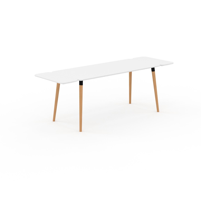 MYCS Table à manger - Blanc, design scandinave, pour salle à manger ou cuisine nordique, table extensible à rallonge - 220 x 75 x 70 cm