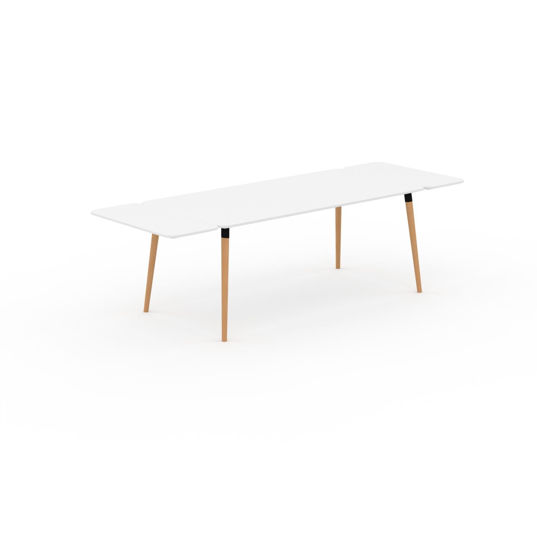 MYCS Table à manger - Blanc, design scandinave, pour salle à manger ou cuisine nordique, table extensible à rallonge - 260 x 75 x 90 cm
