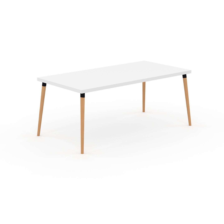 MYCS Table à manger - Blanc, design scandinave, pour salle à manger ou cuisine nordique - 180 x 75 x 90 cm, personnalisable