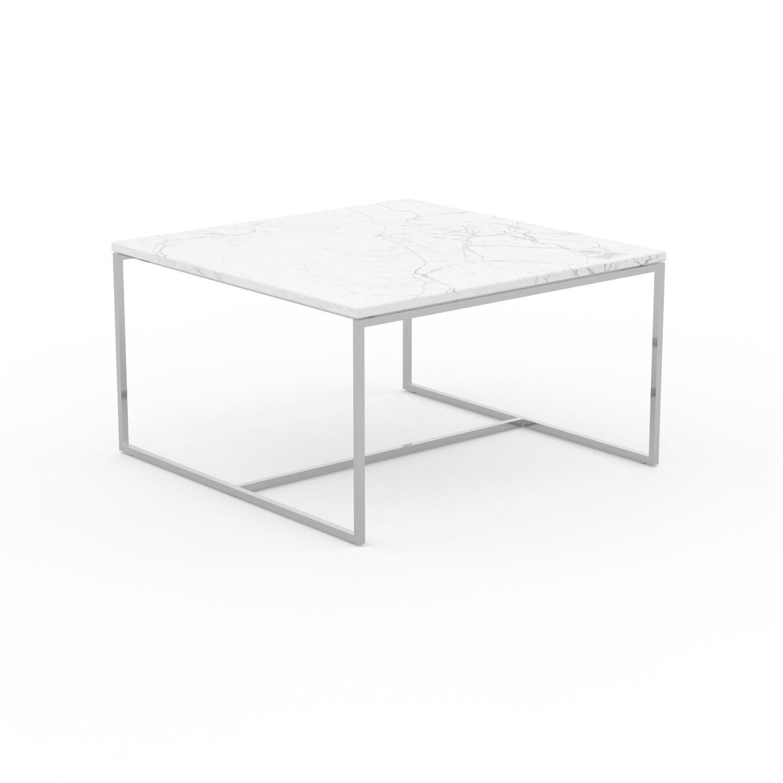 MYCS Table basse en marbre Blanc Carrara, design contemporain, bout de canapé luxueux et sophistiqué - 81 x 46 x 81 cm, personnalisable