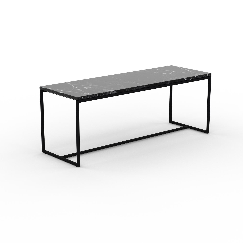 MYCS Table basse en marbre Noir Marquina, design contemporain, bout de canapé luxueux et sophistiqué - 121 x 46 x 42 cm, personnalisable