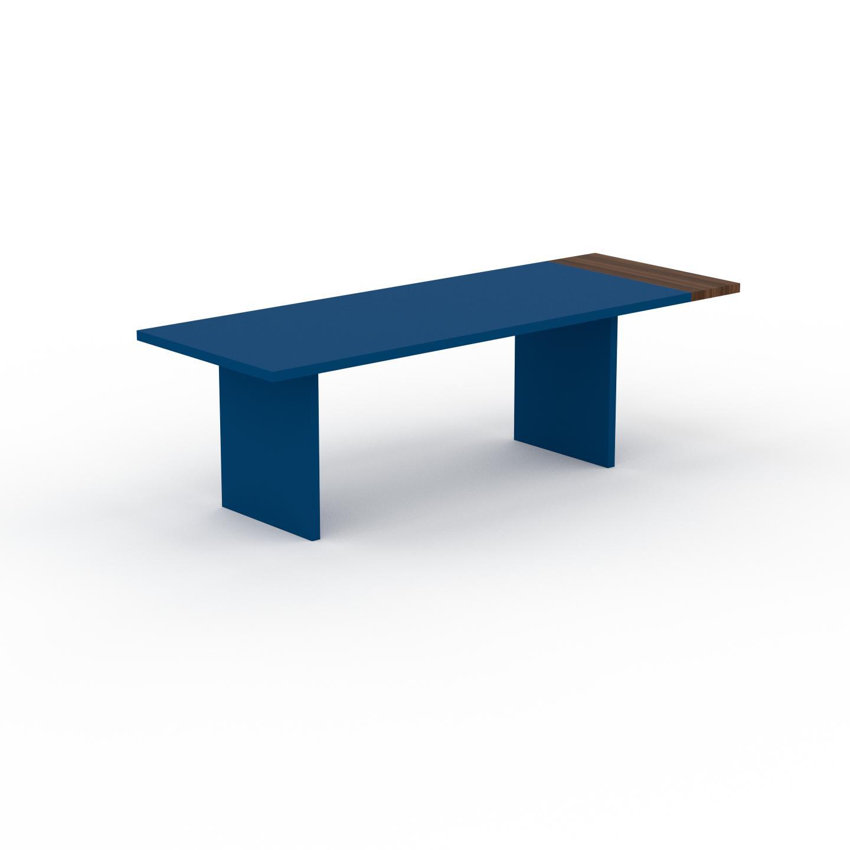 MYCS Table à manger extensible - Bleu, contemporaine, pour salle à manger ou cuisine, avec une rallonge Noyer - 250 x 75 x 90 cm, personnalisable
