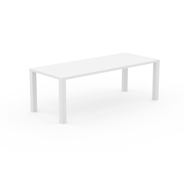 MYCS Table à manger - Blanc, design, pour salle à manger ou cuisine plateau de qualité - 220 x 76 x 90 cm, personnalisable