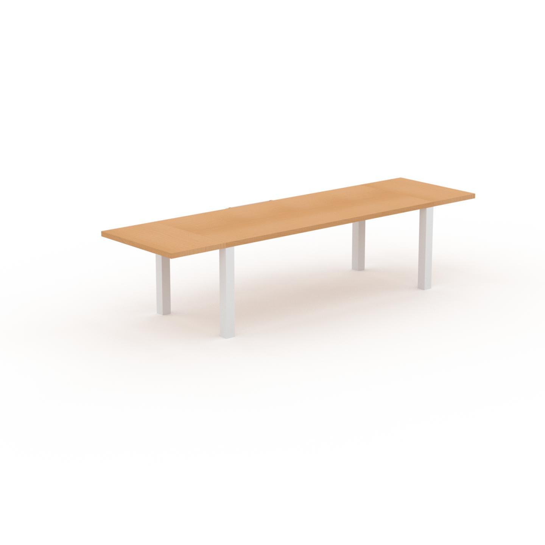 MYCS Table à manger extensible - Hêtre, moderne, pour salle à manger ou cuisine, avec deux rallonges - 320 x 76 x 90 cm, personnalisable