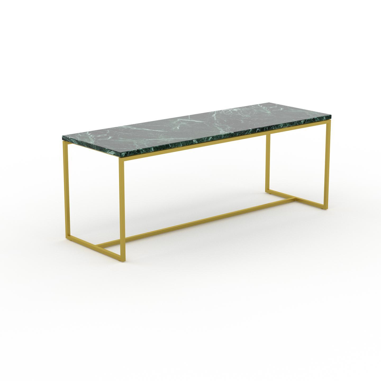 MYCS Table basse en marbre Vert Guatemala avec des jambes dorées, design contemporain, bout de canapé luxueux et sophistiqué - 121 x 46 x 42 cm,