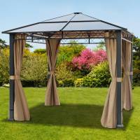 Intent24.fr Tonnelle de jardin 3x3m plaque polycarbonate 6 mm taupe imperméable <br /><b>899.95 EUR</b> INTENT24