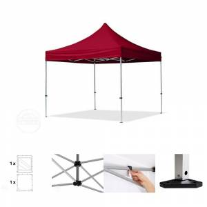 Intent24.fr Tente pliante 3x3m Polyester haute qualité 300 g/m² rouge imperméable barnum pliant, tonnelle pliante - Publicité
