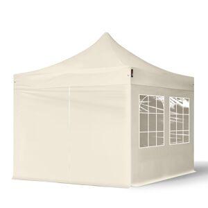 Intent24.fr Tente pliante 3x3m Polyester haute qualité 300 g/m² crème imperméable barnum pliant, tonnelle pliante - Publicité