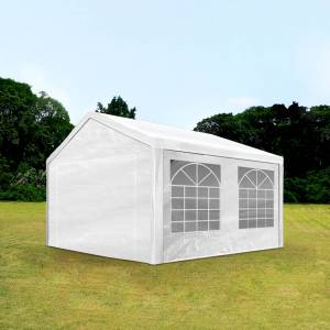 Intent24.fr Tente de réception 3x4m PE 180g/m² blanc imperméable barnum, chapiteau - Publicité