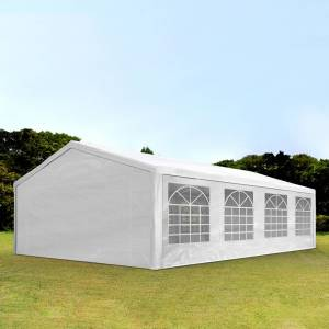 Intent24.fr Tente de réception 5x8m PE 180g/m² blanc imperméable barnum, chapiteau - Publicité