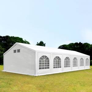 Intent24.fr Tente de réception 6x12m PE 300 g/m² blanc imperméable barnum, chapiteau - Publicité