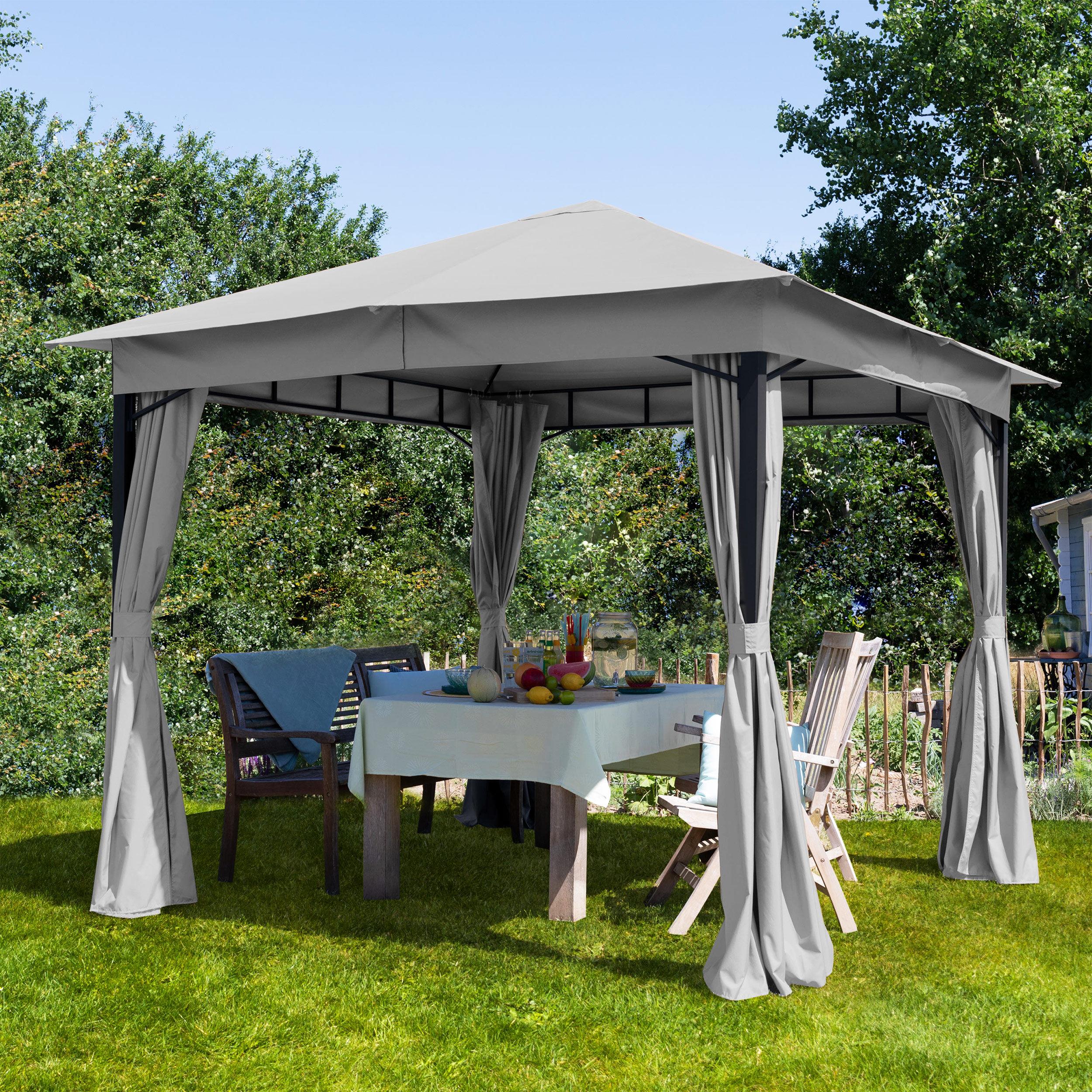 Intent24.fr Tonnelle de jardin 3x3m Polyester pelliculé polyuréthane 180 g/m² gris imperméable