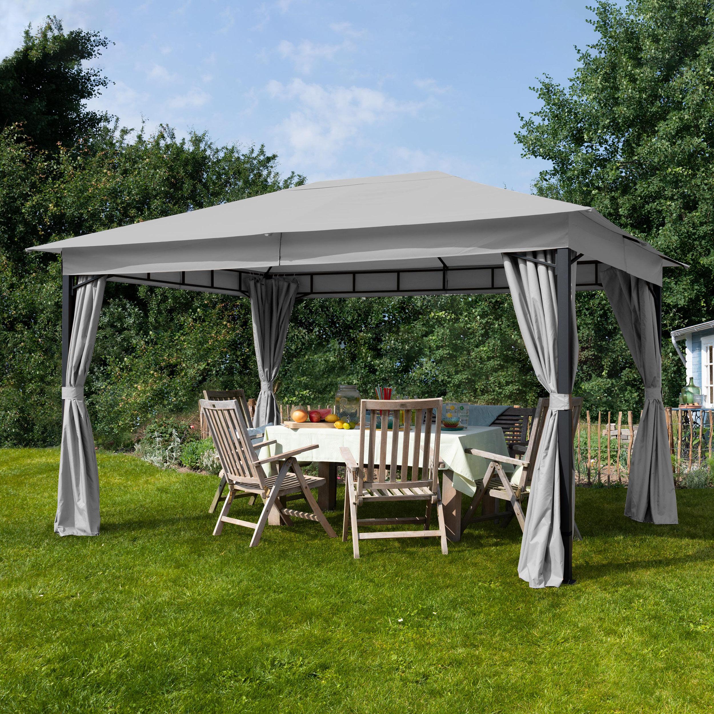 Intent24.fr Tonnelle de jardin 3x4m Polyester pelliculé polyuréthane 180 g/m² gris imperméable
