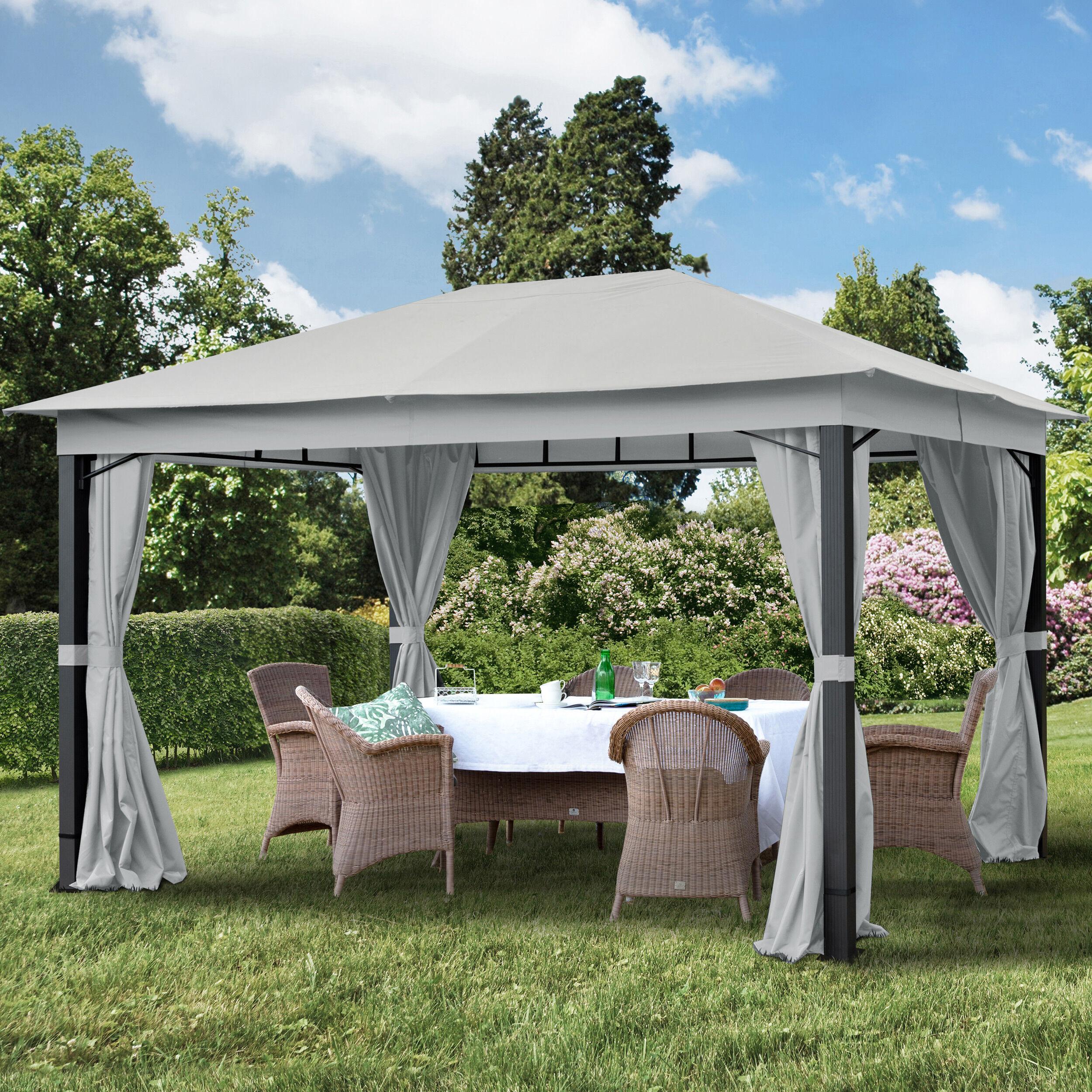 Intent24.fr Tonnelle de jardin 3x4m Polyester pelliculé polyuréthane 220 g/m² gris imperméable