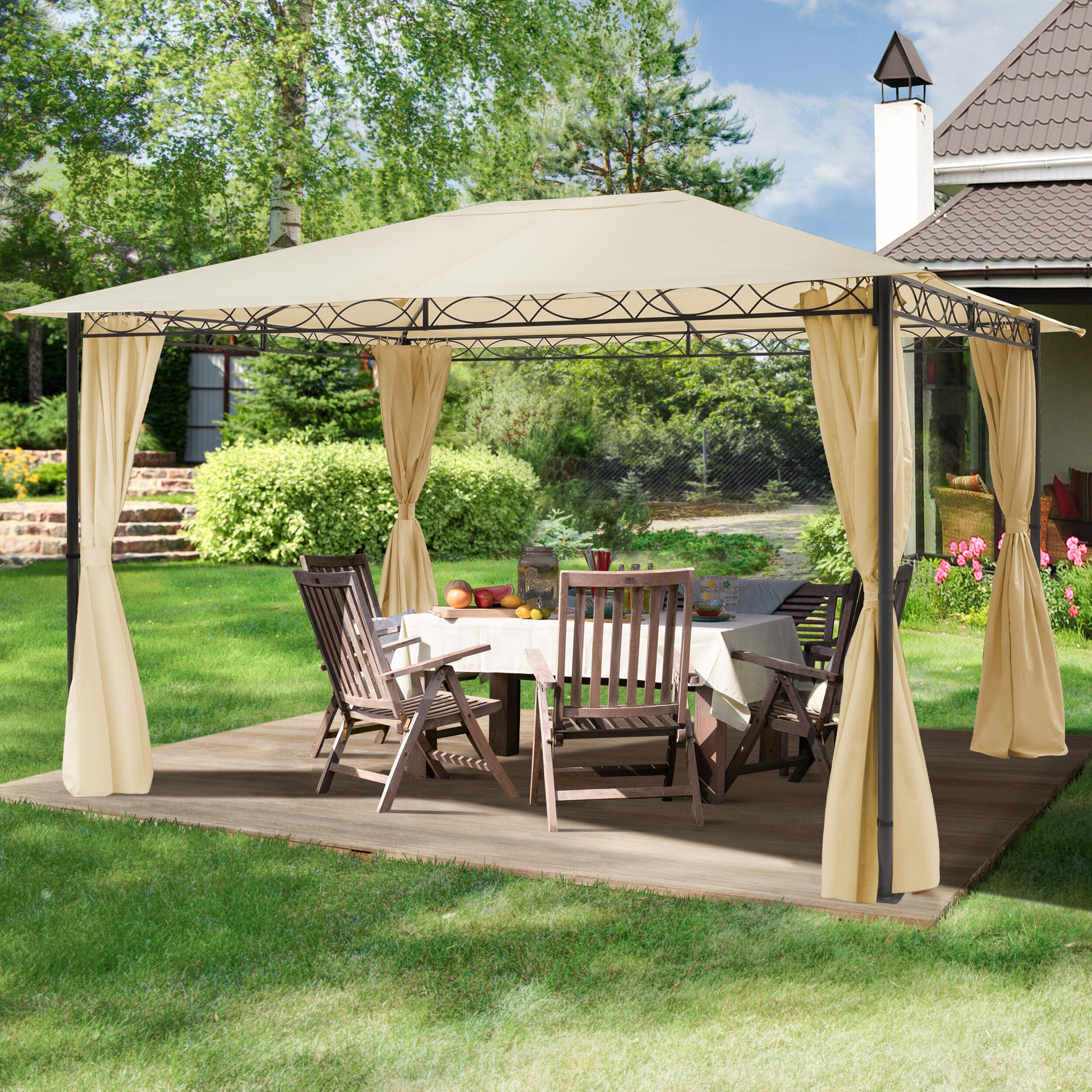 Intent24.fr Tonnelle de jardin 3x4m Polyester pelliculé polyuréthane 180 g/m² champagne imperméable