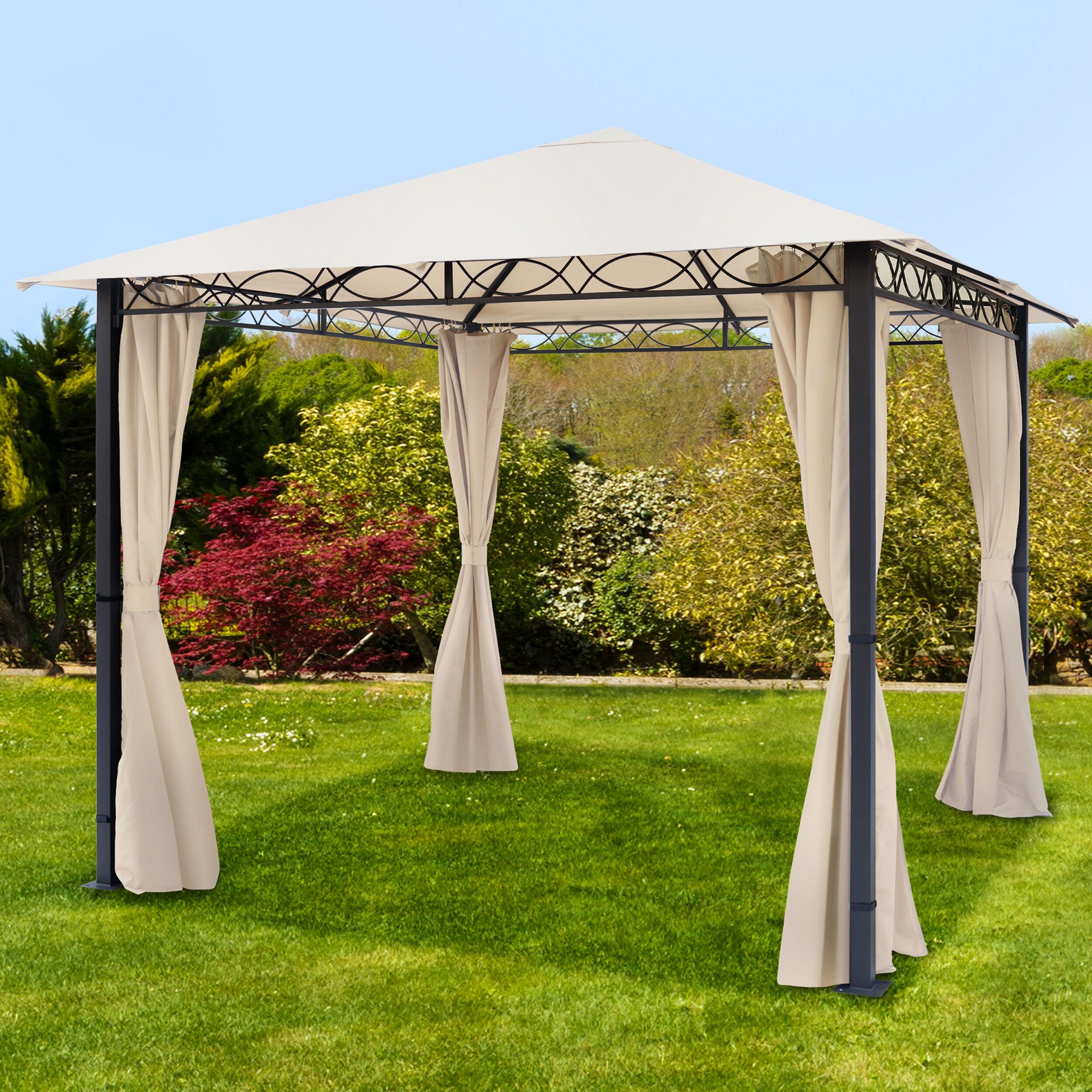 Intent24.fr Tonnelle de jardin 3x3m Polyester pelliculé polyuréthane 220 g/m² champagne imperméable