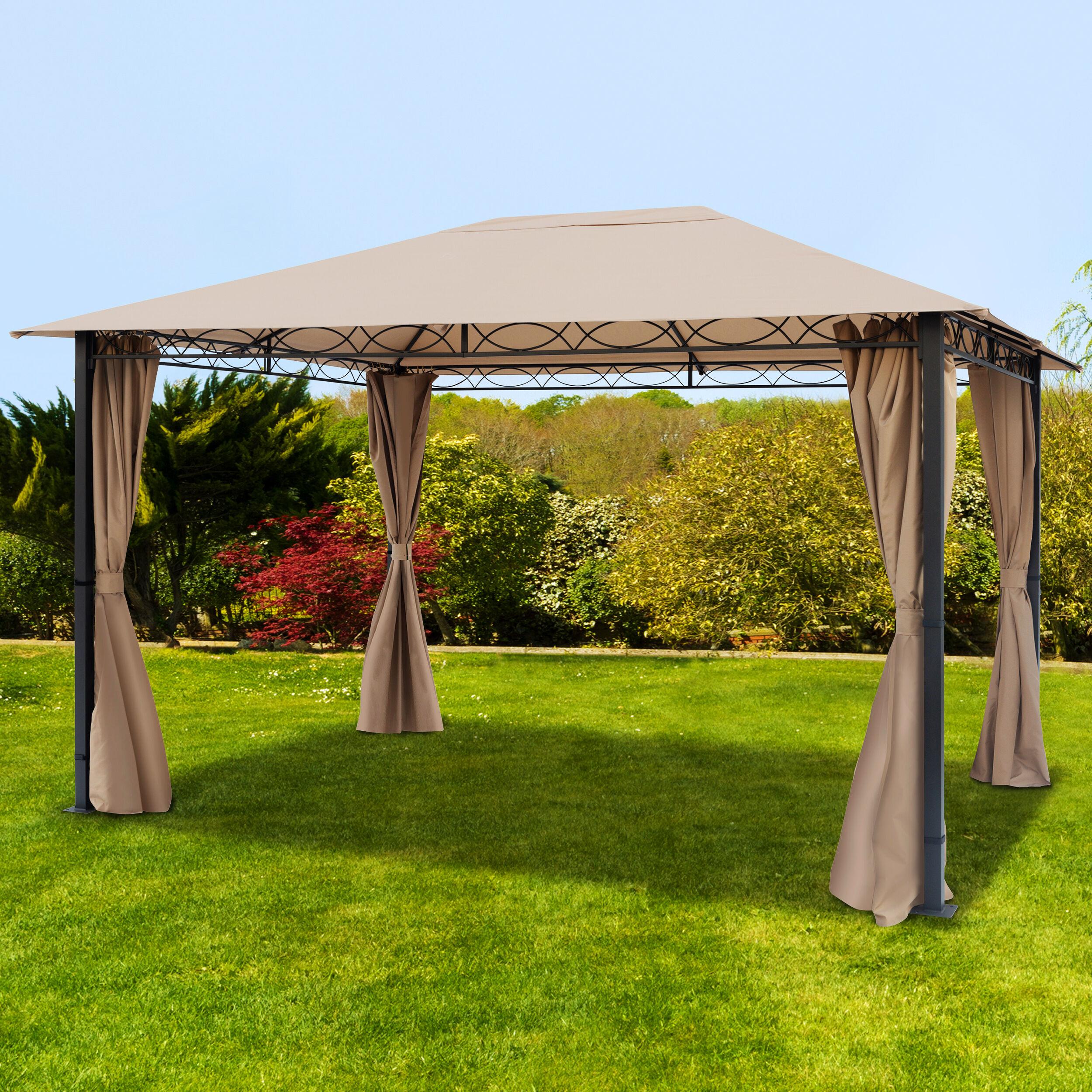 Intent24.fr Tonnelle de jardin 3x4m Polyester pelliculé polyuréthane 220 g/m² taupe imperméable