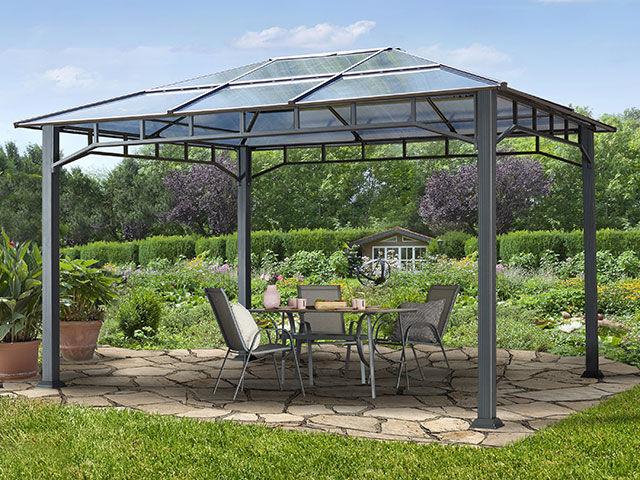 Intent24.fr Tonnelle de jardin 3x4m plaque polycarbonate 8 mm gris imperméable