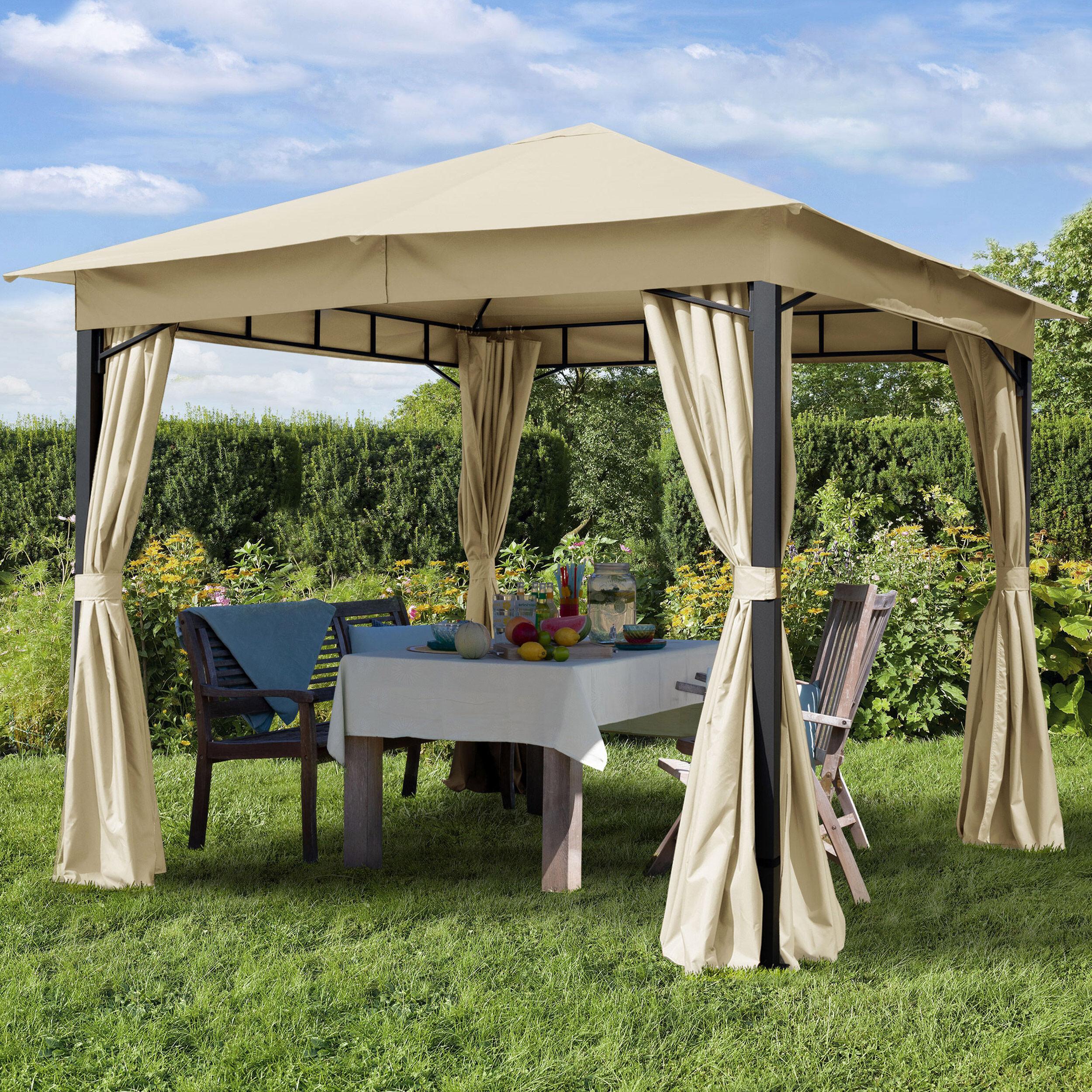 Intent24.fr Tonnelle de jardin 3x3m PES pelliculé PU 180 g/m² champagne imperméable