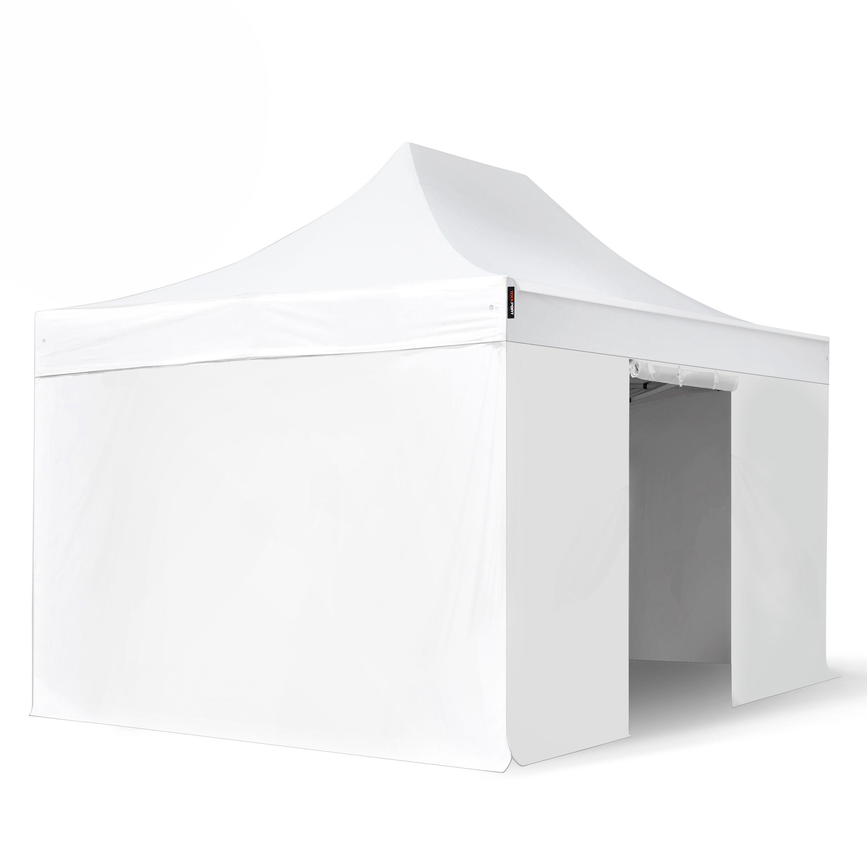Intent24.fr Tente pliante 3x4,5m Long-Life PVC 620 g/m² blanc imperméable barnum pliant, tonnelle pliante