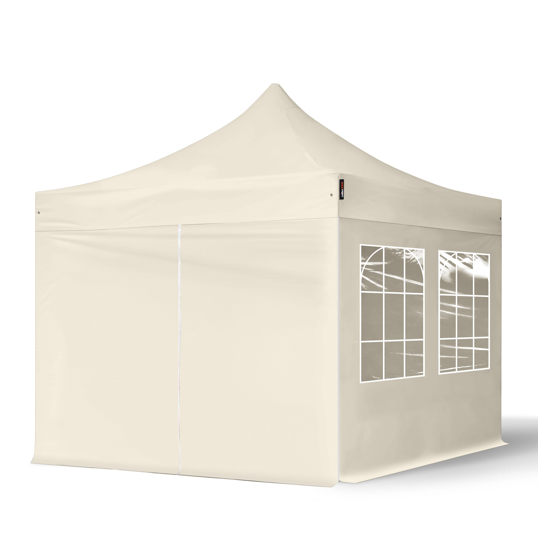 Intent24.fr Tente pliante 3x3m Polyester haute qualité 300 g/m² crème imperméable barnum pliant, tonnelle pliante