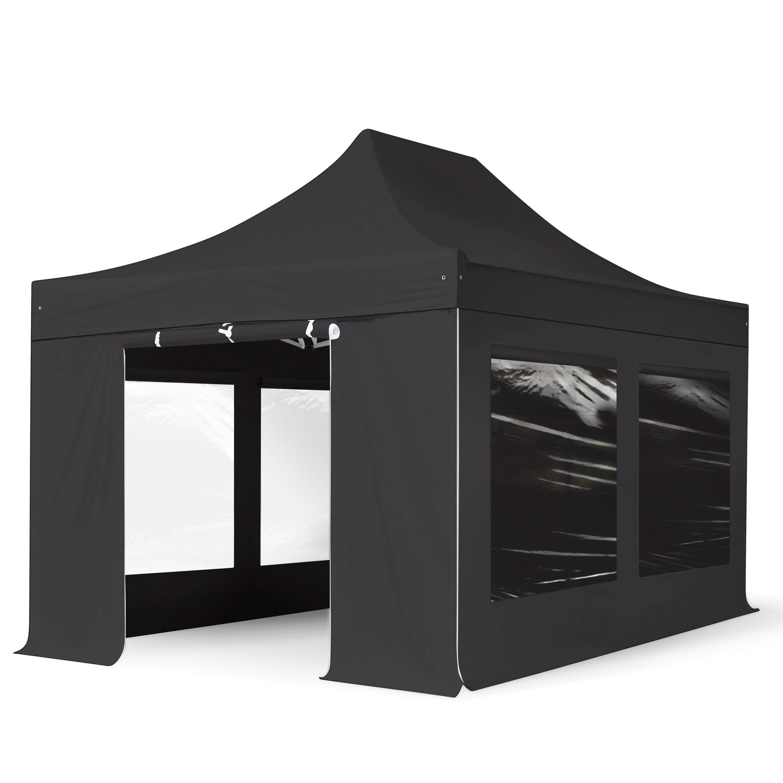 Intent24.fr Tente pliante 3x4,5m Polyester haute qualité 400 g/m² noir imperméable barnum pliant, tonnelle pliante