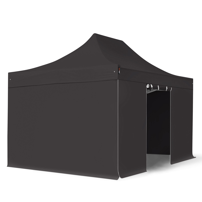 Intent24.fr Tente pliante 3x4,5m Polyester haute qualité 350 g/m² noir imperméable barnum pliant, tonnelle pliante