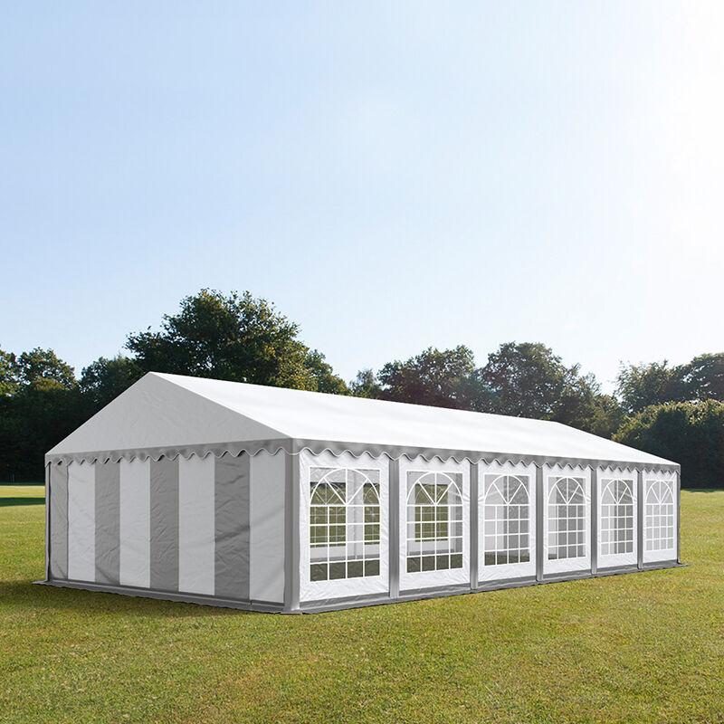 Intent24.fr Tente de réception 6x12m PVC 500 g/m² gris imperméable barnum, chapiteau
