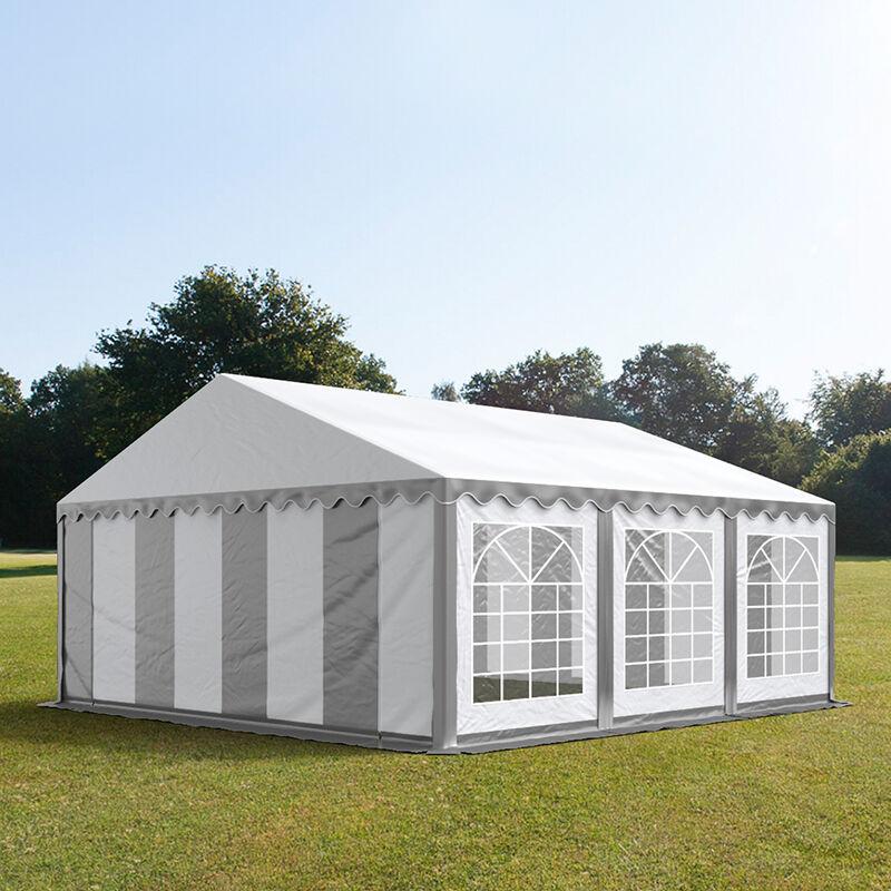 Intent24.fr Tente de réception 5x6m PVC 550 g/m² gris imperméable barnum, chapiteau