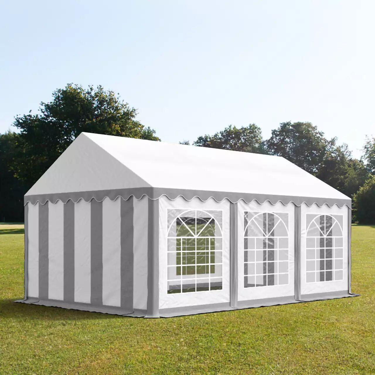 Intent24.fr Tente de réception 4x6m PVC 500 g/m² gris imperméable barnum, chapiteau
