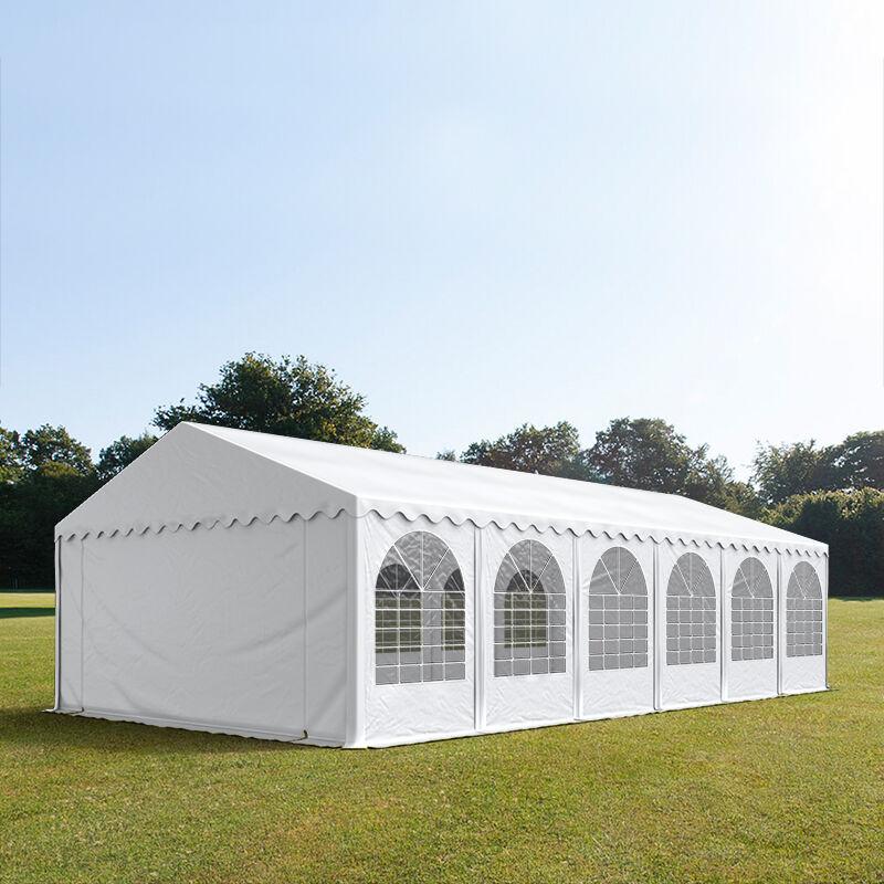 Intent24.fr Tente de réception 5x12m PVC 550 g/m² blanc imperméable barnum, chapiteau