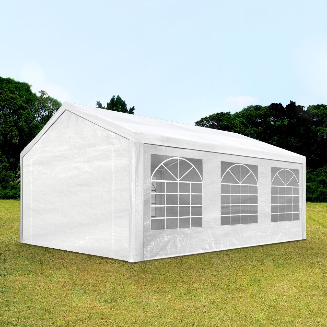 Intent24.fr Tente de réception 4x6m PE 180g/m² blanc imperméable barnum, chapiteau