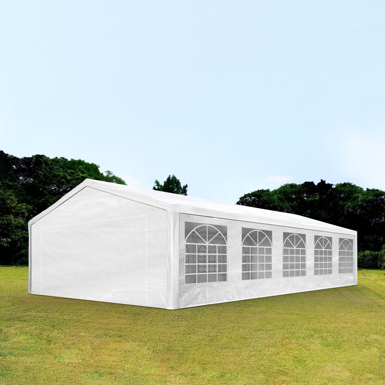 Intent24.fr Tente de réception 5x10m PE 180g/m² blanc imperméable barnum, chapiteau