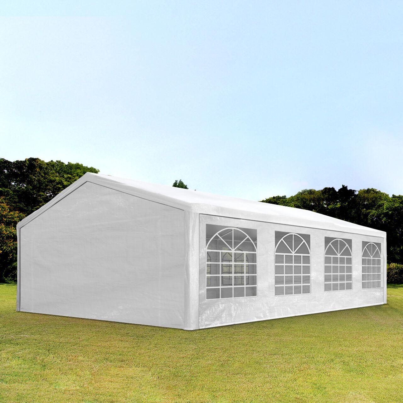 Intent24.fr Tente de réception 5x8m PE 180g/m² blanc imperméable barnum, chapiteau