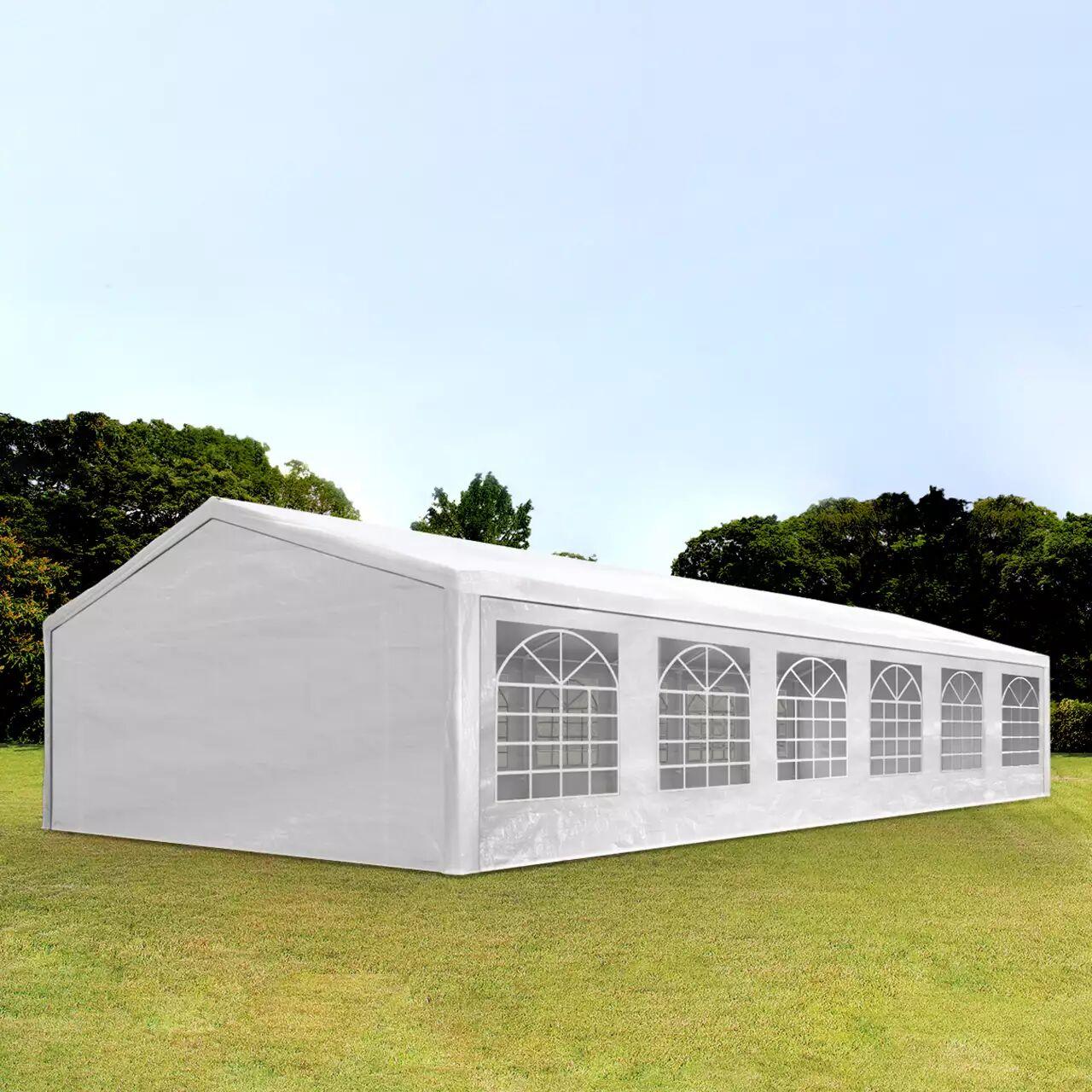 Intent24.fr Tente de réception 6x12m PE 180g/m² blanc imperméable barnum, chapiteau