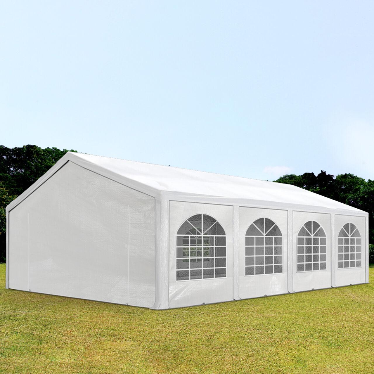 Intent24.fr Tente de réception 5x8m PE 240g/m² blanc imperméable barnum, chapiteau