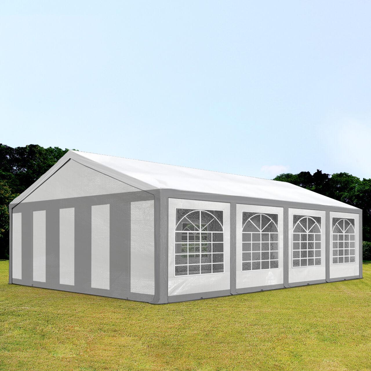 Intent24.fr Tente de réception 5x8m PE 240g/m² gris imperméable barnum, chapiteau