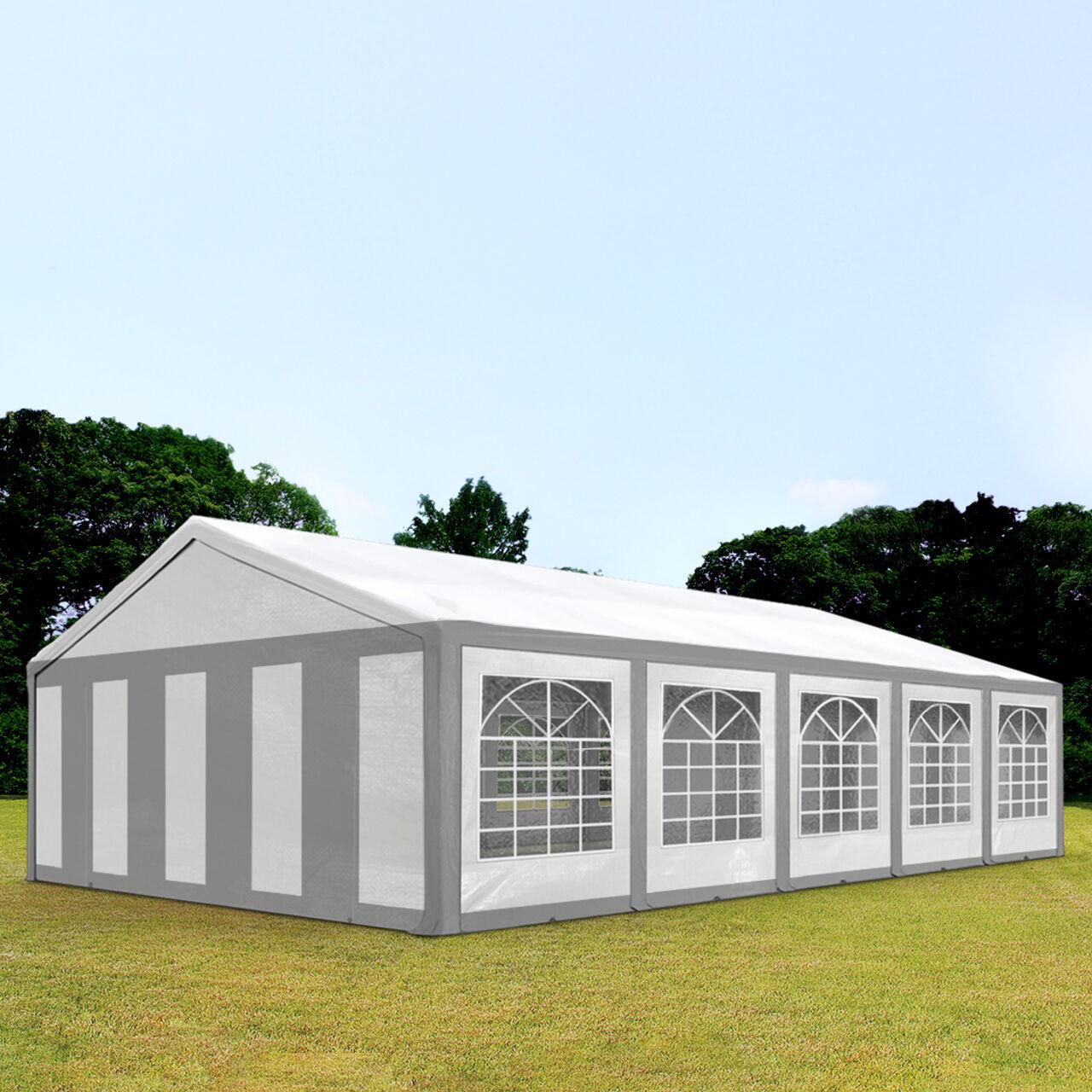 Intent24.fr Tente de réception 5x10m PE 240g/m² gris imperméable barnum, chapiteau