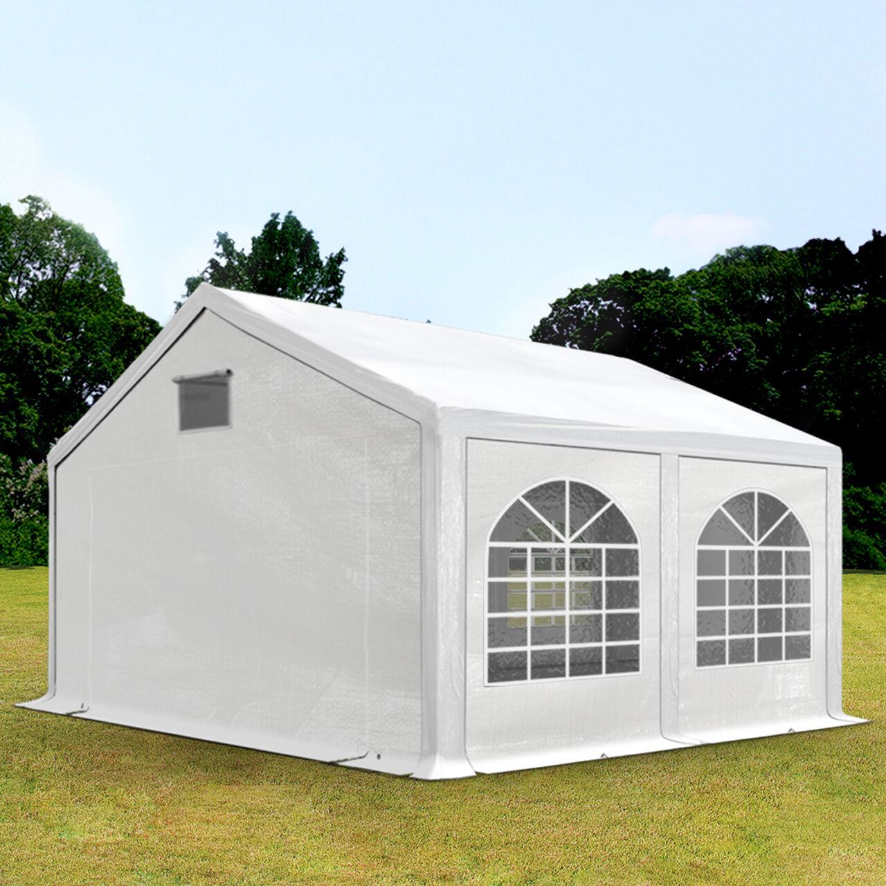 Intent24.fr Tente de réception 3x4m PE 300 g/m² blanc imperméable barnum, chapiteau