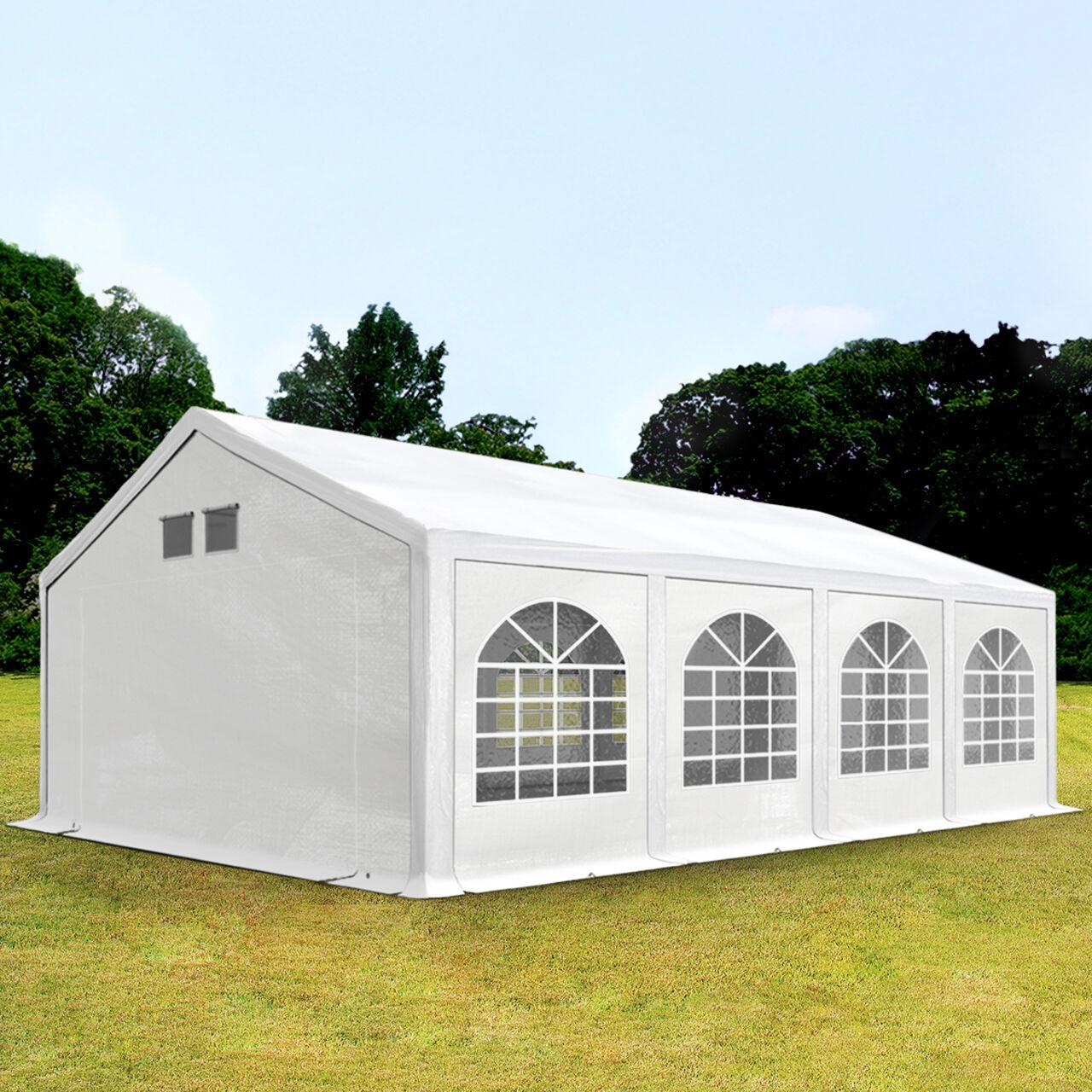 Intent24.fr Tente de réception 4x8m PE 300 g/m² blanc imperméable barnum, chapiteau