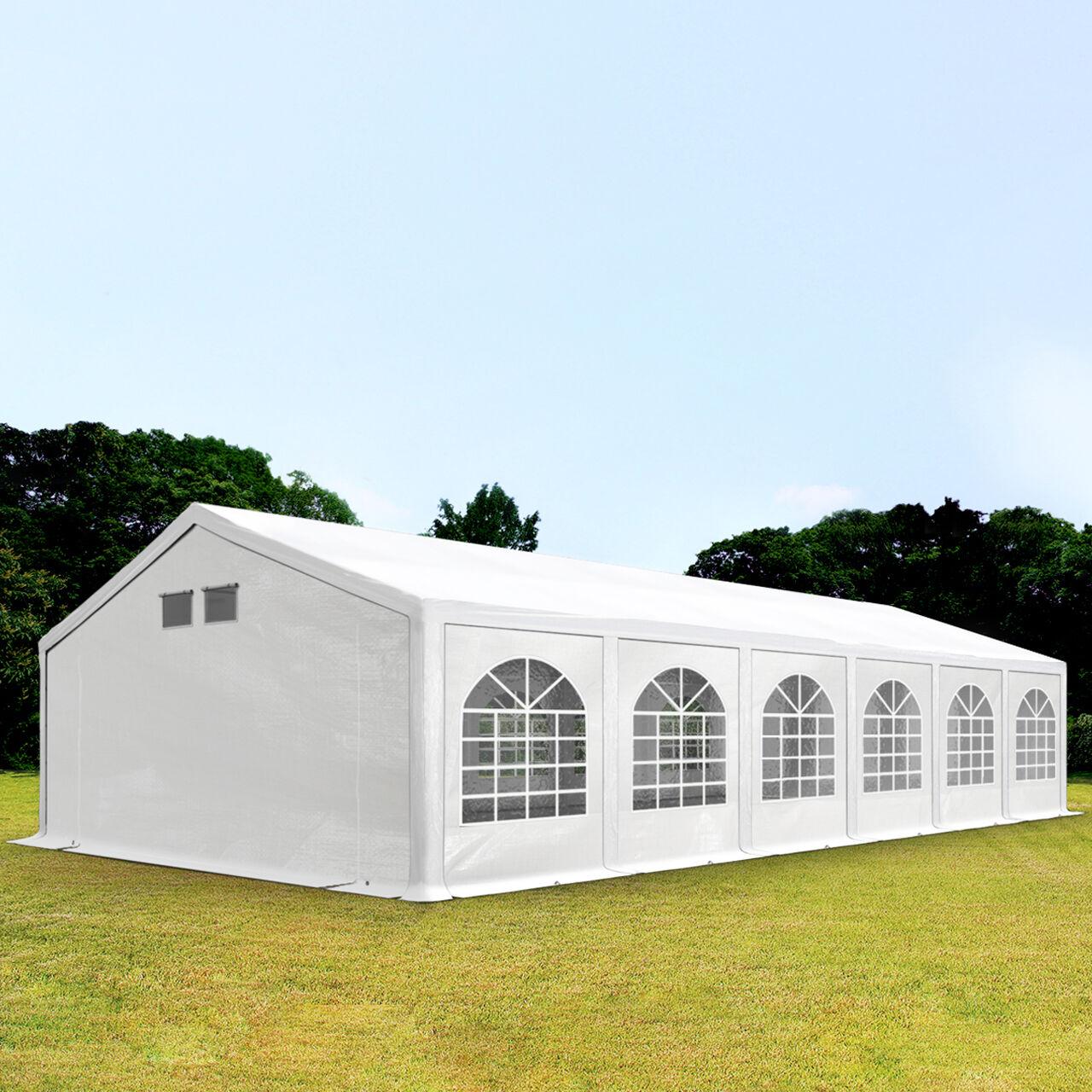 Intent24.fr Tente de réception 6x12m PE 300 g/m² blanc imperméable barnum, chapiteau