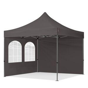 Intent24.fr Tente pliante 3x3m Polyester haute qualité 350 g/m² gris imperméable barnum pliant, tonnelle pliante - Publicité