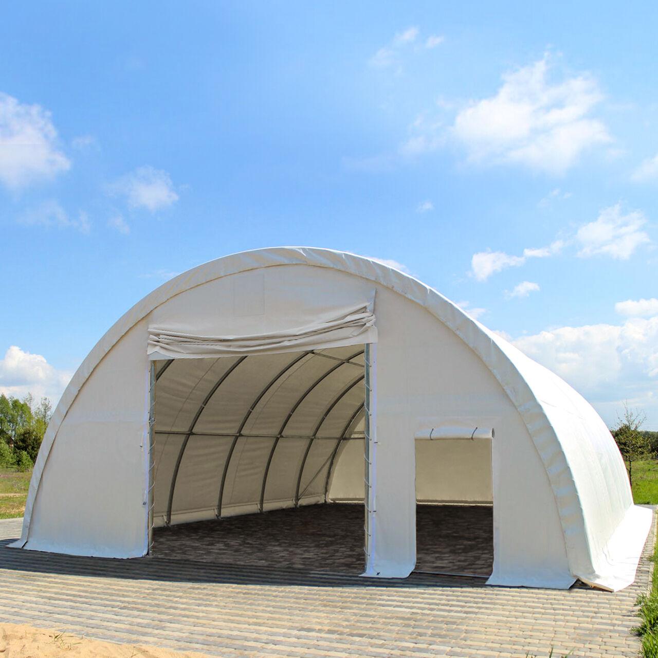 Intent24.fr Tunnel de stockage 9,15x10m PVC 720 g/m2 blanc imperméable tunnel agricole