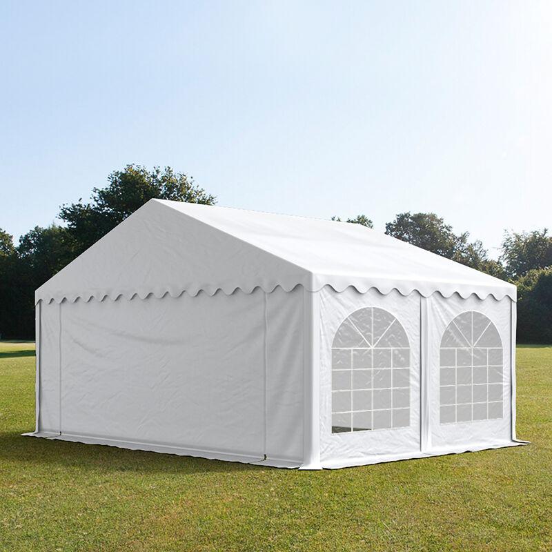 Intent24.fr Tente de réception 5x5m PVC 500 g/m² blanc imperméable barnum, chapiteau